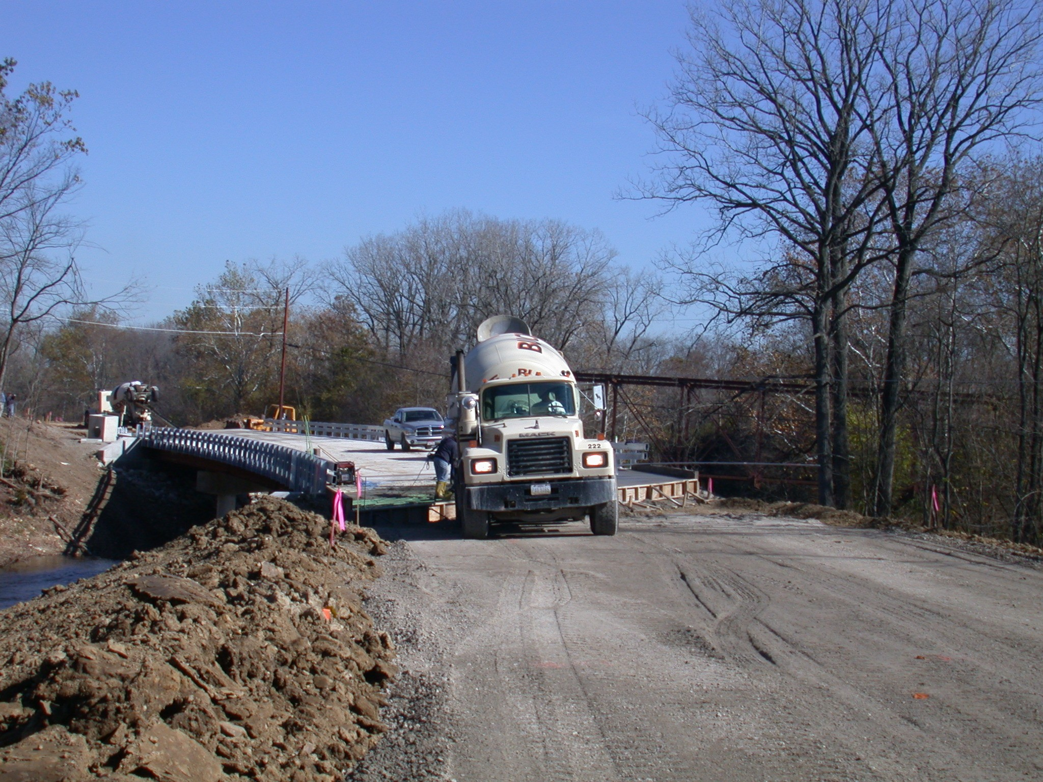 Mill Creek Bridge with concrete truck